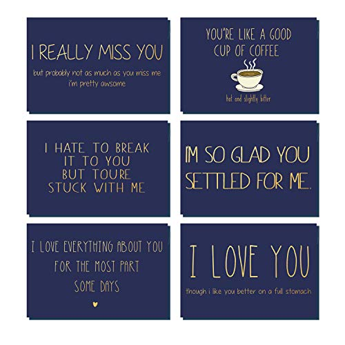 Photo of WRAPAHOLIC Valentine's Day Love Card – 6 Pack Gold Hot Stamping Navy Funny Anniversary Cards with Envelope and Heart Stickers