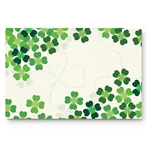 St. Patrick's Day Doormat Lucky Shamrocks Celtic Irish Clover Celebration Day Welcome Floor Mat for Living Dining Dorm Room Bedroom Home, 18 x 30 Inch