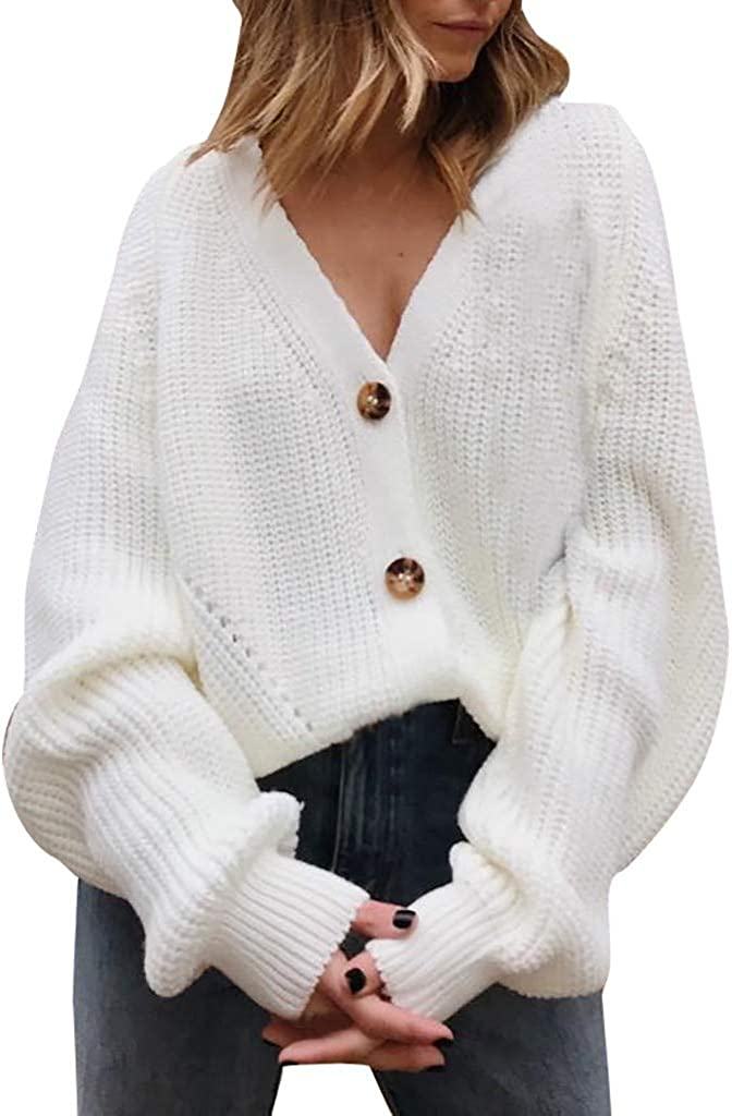 Hoodies Outerwear Sweatshirt Coat Women V Neck Button Down Long Sleeve Cable Knit Cardigan Sweaters Outerwear Tops