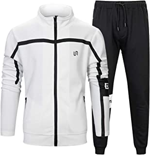 MANLUODANNI Men's Athletic Full Zip Fleece Tracksuit Sports Sets Casual Sweat Suit