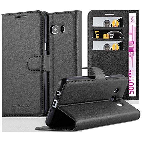 Cadorabo Custodia Libro per Samsung Galaxy J5 2016 in Nero Carbone - con Vani di Carte, Funzione Stand e Chiusura Magnetica - Portafoglio Cover Case Wallet Book Etui Protezione