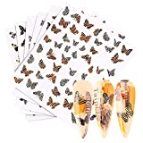 Butterfly Nail Art Stickers Decal 3D Leopard Print Nail Supplies Bohemia Style Transfer Slider Manicure Tips Nails Foil for Acrylic Nail Charms butterfly Design Polish Wraps Cartoon Nail Decorations 6pcs