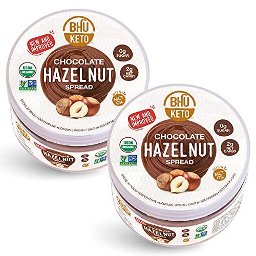 BHU Keto Chocolate Hazelnut Spread - 0g Sugar, 2g Net Carb Snack - Always Vegan, Organic, Dairy-Free...