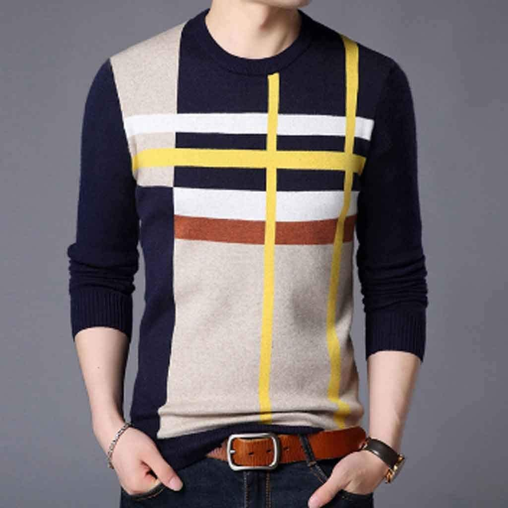 XJJZS Brand Sweater for Mens Pullover Neck Slim Fit Jumpers Knitred Woolen Winter Korean Style Casual Mens Clothes (Color : B, Size : XL Code)