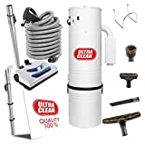 Ultra Clean Central Vacuum Package, Tangential Bypass Motor up to 7,500 sq. ft. with Deluxe Electric Hose and Carpet Beater/Power Nozzle Kit Ideal for All Types of Flooring (30 ft, Pigtail)
