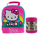 Thermos Hello Kitty Soft Dual Compartment Lunch Box Kit - Insulated Lunch Bag with Padded Carry Handle and 10oz FUNtainer Vacuum Insulated Stainless Steel Food Jar-Great for Children, Easy Transport