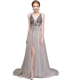 1823f705edfba6 BINGQZ Damen/Elegant Kleid/Cocktailkleider Abendkleid mit V-Ausschnitt  rückenfrei Perlen hoch geteilten