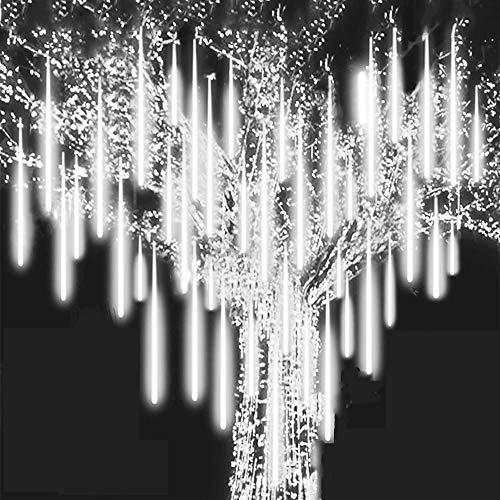 Roytong - Luz de lluvia de lluvia de meteoros, cascada impermeable LED carámbano nieve que cae luz de Navidad, luz de lluvia al aire libre, utilizada para la decoración del árbol de Navidad fiesta de bodas vacaciones (blanco, 30 cm)