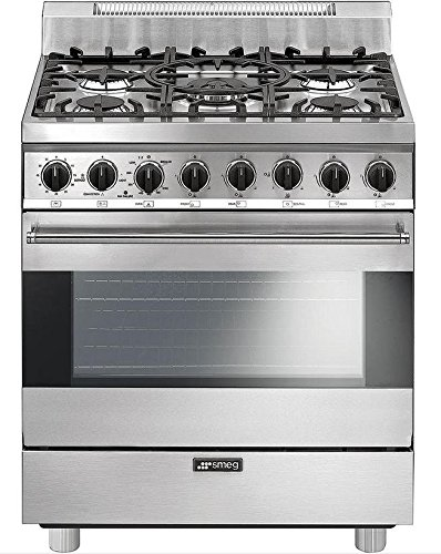 Smeg C30GGXU1 30' Free Standing Gas Range with 5 Gas Burners and 3 Cooking Modes, Stainless Steel