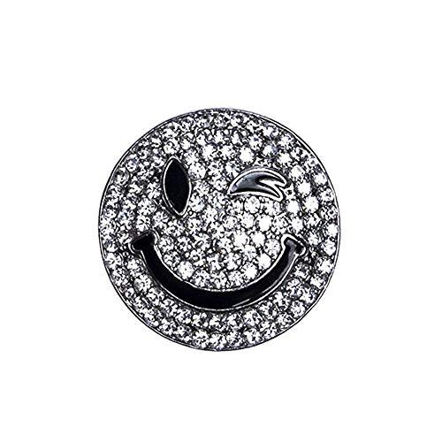 AniKigu Magnet Schmuck Anhänger Smiley (Silber/Small Size),Silber mit Strass für Kleidung/Schals/Tücher und Ponchos/Brosche/Damenbekleidung Zubehör