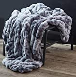 LILY NY Sculpted Faux Fur Throw Blanket Ruched Elegant,Anti-Static, no shed at All,Fuzzy Plush Elegant Blanket for Sofa Chair Couch and Bed, Light Weight for All Seasons Reversible Velvet Blanket