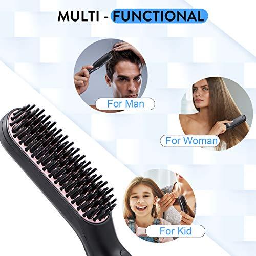 liaboe Cepillo Alisador de Barba 3 in 1 Profesional Multifuncional Peine Alisador Electrico para Hombr Rápido Peine Alisador Nutrición Aniónica Temperatura Regulable