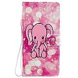 Sunrive Hülle Für Lenovo Moto G4 Play, Magnetisch Schaltfläche Ledertasche Schutzhülle Etui Leder Hülle Cover Handyhülle Tasche Schalen Lederhülle MEHRWEG(W18 Pink Elefant)