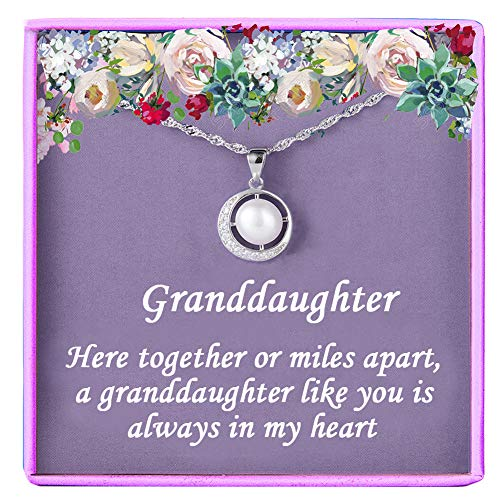 Gift for Granddaughter Gifts Sterling Silver Pearl Necklace from Grandmother/Grandma Gifts for Girls, Best Birthday Gift Ideas, Pendant Jewellery Necklaces, Graduation Grad