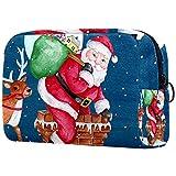 Bolsa de Maquillaje Grande con Cremallera, Organizador de cosméticos de Viaje para Mujeres y niñas - Chimenea de Regalo navideño de Santa Navidad