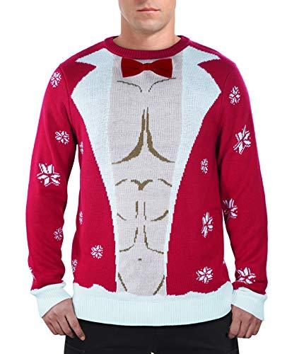 QUALFORT Herren Weihnachtenspullover Ugly Christmas Sweater Hässliche Strickpullover-Roter Muskelman Large