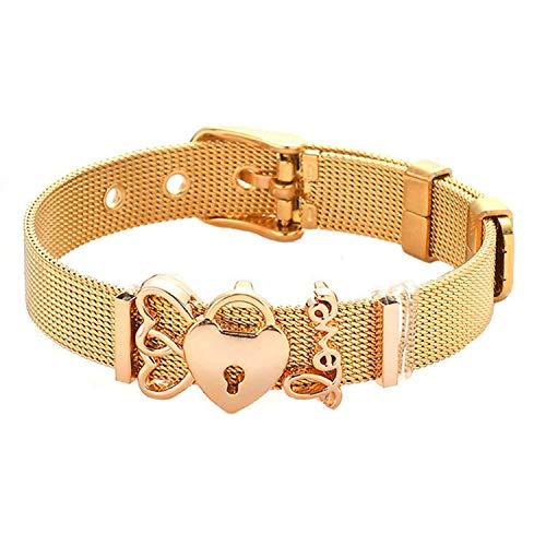 Little Cute Shop - Set di braccialetti in acciaio INOX con ciondoli a rete in gomma, per donne e uomini, idea regalo e NA, colore: St009, cod. KPA7212