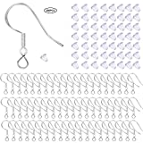 150 PCS/ 75 Pairs 925 Sterling Silver Earring Hooks Fish Hook Ear Wires French Wire Hooks Hypo-allergenic Jewelry Findings Earring Parts DIY Making With 150 PCS Clear Rubber Earring Safety Backs