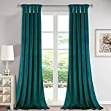 StangH Velvet Blackout Curtains Long - Indoor Outdoor Decor Teal Curtains for Living Room Patio Door, Twist Tab Design Insulated Window Treatment Set for Farmhouse Cottage, 52 x 108 inch, 2 Pcs