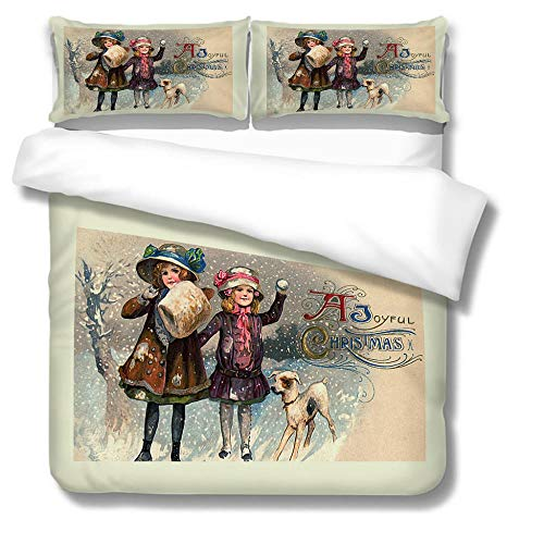 HLL 3D Christmas series Printing Bedding Sets Soft Two girls in the snow Comfortable Bed Linens Bedding 100% Polyester Duvet Cover Sets 3pcs
