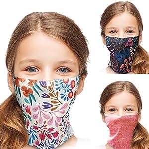 ALB Stoffe® ProtectMe - KIDS Loops Mix FLORAL, permanent antimikrobiell, 100% Made in Germany, Ökotex® Standard 100, Mund-Nasen-Maske aus Trevira Bioactive®, waschbar, schadstofffrei, 3er Pack