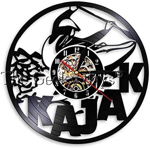 Vinyl wandklok Kayak tijd Kayak Whale horloge peddelen Vintage raften muur Decor Modern Design Sport geschenken voor kajakkers 12 Inch 12 Inch Vinyl wandklok