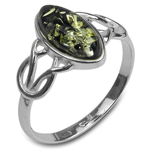 Green Amber Sterling Silver Celtic Thin Ring , Size 9