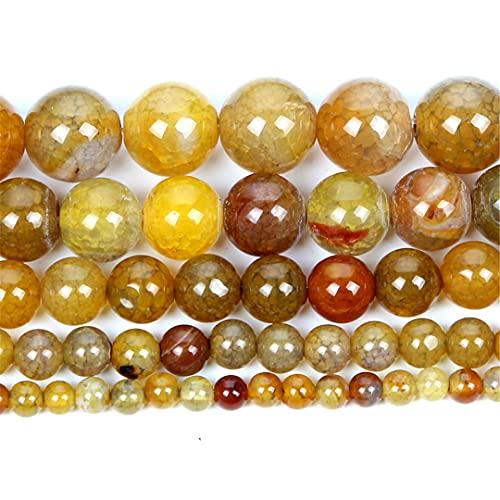 Cuentas de piedra natural amarillo Dragón patrón ágata redondo cuentas sueltas para hacer joyas aguja pulsera DIY 4-12 MM H8174 6mm aproximadamente 63 piezas