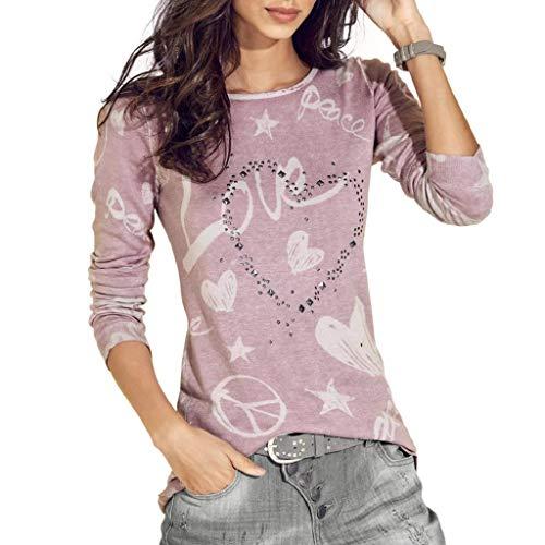 SHOBDW Mujeres Camiseta de Manga Larga con Cuello Redondo y Camisa Impresa Moda Casual Primavera Otoño Blusa Algodón Suelto Tops Sudadera Pullover Camiseta Elegante(Rosado,S)