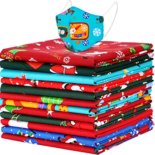 12 Pieces Christmas Fat Quarters Christmas Printed Cotton Fabric Quilting Precut Fabric Bundles Christmas Theme Patchwork Fabric for Christmas Home Party DIY Sewing Face Protectors (22 x 18 Inches)