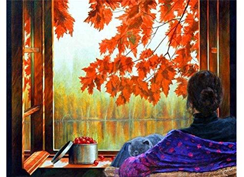 Rode esdoornbladeren en kers bij het raam Verf op nummer Kits Voorgedrukt patroon Diy Handgemaakt digitaal schilderen Kleuren op canvas zelf 16X20 inch Frameloos