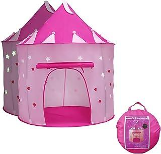 Tienda de campaña Infantil, Carpa Rosa Plegable Castle Princess Play Noche Star Regalo Interior para Niños Camping Play House Toy Castle Carpa con Bolsa