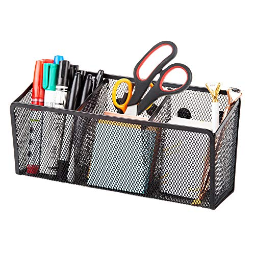 Magnetic Pencil Holder Organizer - Perfect for Locker Refrigerator Whiteboard Office Fridge - Metal Mesh Pen Cup for Accessories Marker Eraser Chalk Supplies - Strong Magnet Storage Bin Basket