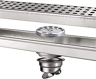 Linear Shower Drain 304 Stainless Steel with Removable Cover Rectangle Shower Floor Drain Floor Drainer with Hair Strainer...