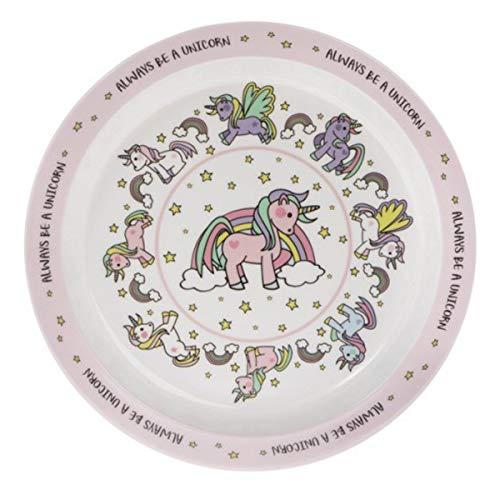 Les Trésors De Lily [Q6451 - Assiette Enfant mélamine 'Licorne My Unicorn' Rose Blanc - 21.5 cm