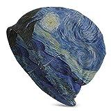 FETEAM Gorro Slouch Beanie, Transpirable, Ligero, Elástico, Suave Gorra de Calavera Arte de la Noche Estrellada de Van Gogh