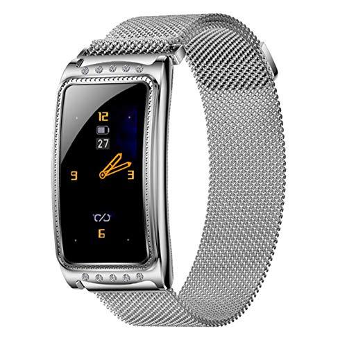 QAK F28 Smart Muñequera Aptitud Pulsera Bluetooth Llamada Sports Watch Banda Impermeable Tasa del Corazón Sphygmomanometer Fitness Tracker Señora para Android iOS,B