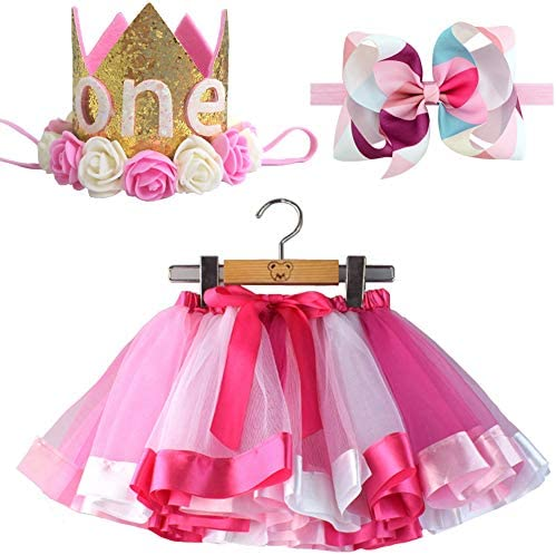BGFKS Newborn Baby Girls 1st Birthday Photography Outfit Sets Layered Rainbow Tutu Skirt with product image
