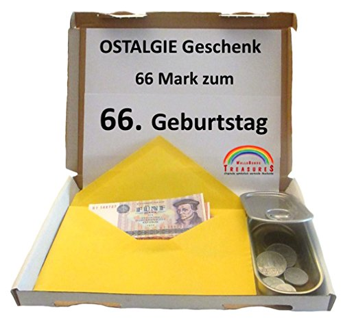 WallaBundu OSTALGIE Geschenkidee - 66 Mark zum 66. Geburtstag – EIN symbolisch wertvolles Geschenk mit ca. 11 verschieden Umlaufmünzen aus der DDR Zeit und Taschenkalender 1954. Nostalgie…