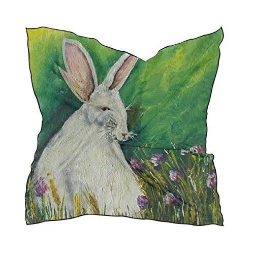 QMIN Pañuelo cuadrado de seda para pintura artística de Pascua Animal conejo flor moda pañuelo ligero abrigo para el pelo diademas para el cuello ordenado bufandas para mujer, 60 x 60 cm