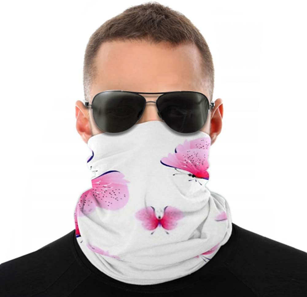 Headbands For Men Women Neck Gaiter, Face Mask, Headband, Scarf Beautiful Pink Butterfliesisolated On White Turban Multi Scarf Double Sided Print Head Wrap For Sport Outdoor