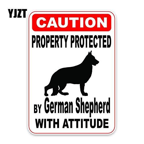 WAXY 10 * 14,2 CM Propiedad protegida por Perro Pastor Geman Moda Creativa PVC Material Coche Pegatina C1-4773