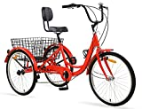 Ey Adult Tricycle, 3 Wheel Bike Adult, Three Wheel Cruiser Bike 24 26 inch Wheels, 7 Speed, Adjustable Seat and Handlebar, Multiple Colors