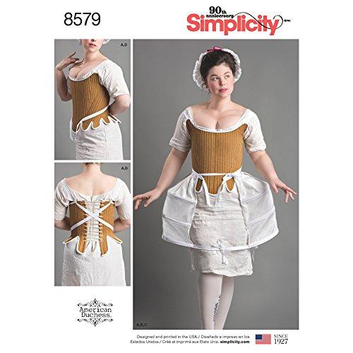 Simplicity Simplcity 8579Simplicity Pattern 8579 Disfraz de Mujer para el Siglo XVIII, Papel, Blanco, D5 (4-6-8-10-12)