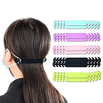 Adjustable Silicon Face Mask Extender Strap / Anti-earache Ear Loop Extension Hook for Adult and Children  10pcs