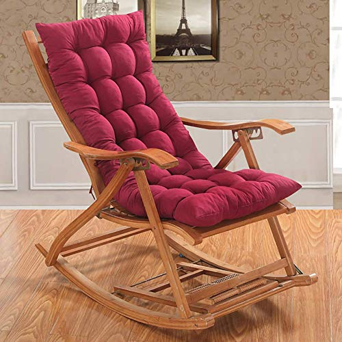 NMBC Cuscino per Sedia a Sdraio Cuscino per Patio Cuscini per Sedia Cuscini per sedie a Dondolo con Schienale Alto Interno per Esterni Cuscino per Chaise Longue Addensare-120x48cm Rosso