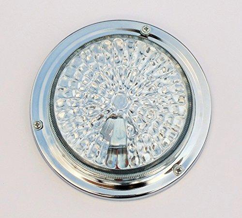 Bajato: Lampe classique pour cabine, toit, intérieur, diamètre 132 mm, base ronde plate avec ampoule (argent, 24 V)