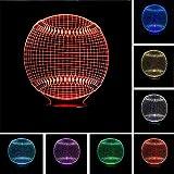 MMLUCK Nachtlicht NeueBaseball 3D Light Hat Sporting Beleuchtung 7 Farbwechsel LED Nachtlicht Touch Schreibtisch Tischlampe Kind Kinder Schlafen Geschenke