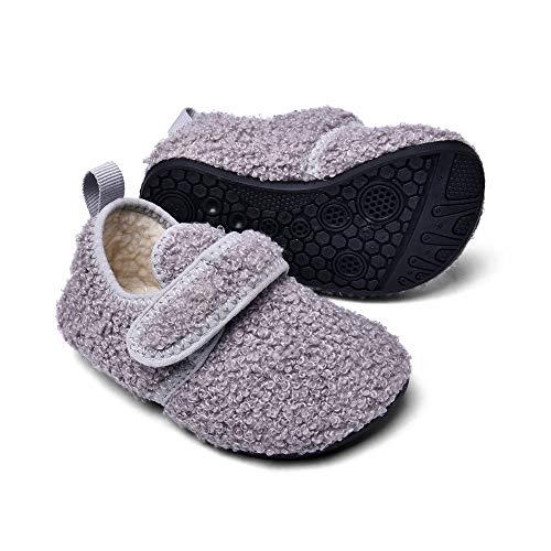 Sosenfer Hausschuhe Kinder mädchen Junge plüsch Warme Pantoffeln für Kleinkinder Filz Hüttenschuhe Fuzzy Slippers unisex-HUISE-27