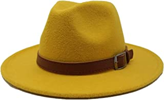 SGJFZD Men's Women's Wool Fedora Hat with Leather Belt Autumn Casual Church Hat Winter Jazz Fascinator Hat Size 56-58CM (Color : Yellow, Size : 56-58)